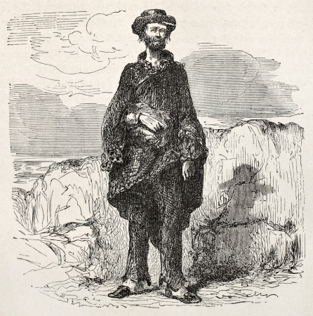 Old illustration of a sloppy man. Created by Riou, published on Le Tour du Monde, Paris, 1864 Stock Photo - 15155792