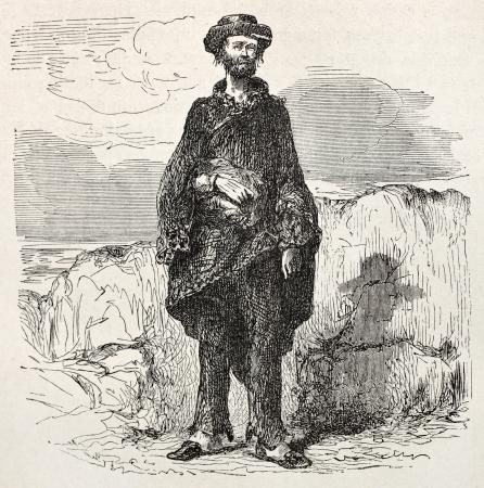 slovenly: Old illustration of a sloppy man. Created by Riou, published on Le Tour du Monde, Paris, 1864