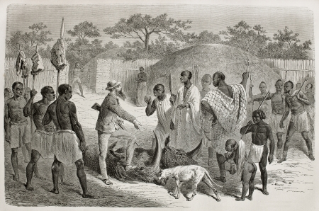 exploratory: Old illustration of explorer John Speke showing hunting trophies to Rumanika. Created by Bayard, Richon and Monvoisin, published on Le Tour du Monde, Paris, 1864 Editorial