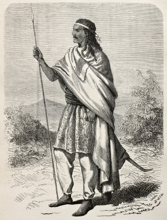haile: Old engraved portrait of Tewodros II, Abyssinian emperor. Created by Janet-Lange and Huyon, published on Le Tour du Monde, Paris, 1864 Editorial