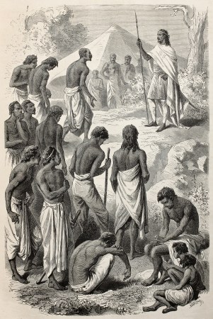 ethiopia: Old illustrations of Abyssinian Emperor Tewodros giving a hearing to insurgents people. Created by Janet-Lange and Dumont, published on Le Tour du Monde, Paris, 1864