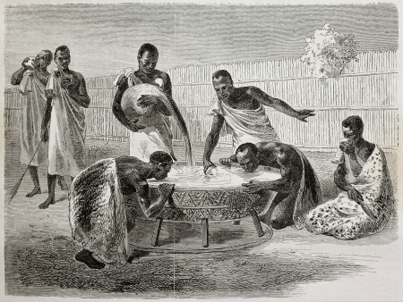ugandan: Old illustration of native Ugandan Africans drinking millet beer from a big common recipient. Created by Bayard and Dumont, published on Le Tour du Monde, Paris, 1864