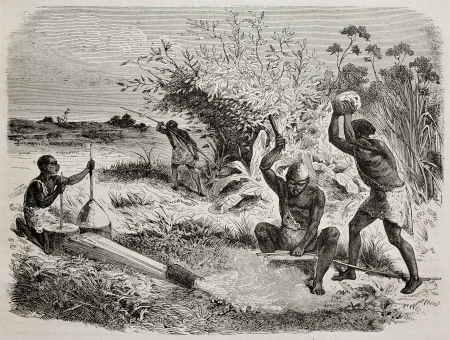ancient blacksmith: Old illustration of blacksmiths worker in a tribe of Unyamwezi region, Tanzania. Created by Bayard, published on Le Tour du Monde, Paris, 1864