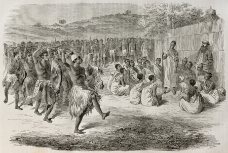 Old illustration of Ugandan troops  review by King Mtesa. Created by Bayard, published on Le Tour du Monde, Paris, 1864