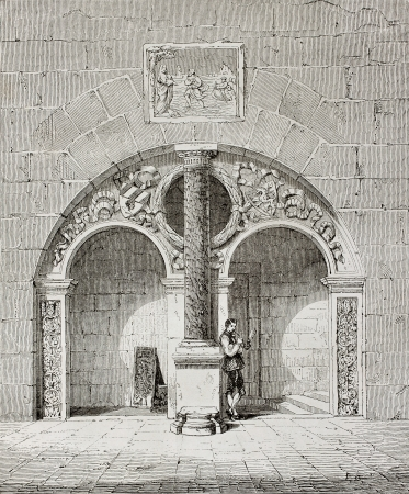 Old illusstration of Laurent Tuchers house entrance in Nuremberg, Germany. Created by Therond, published on Le Tour du Monde, Paris, 1864