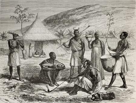 tribu: Antigua ilustración de Uganda jefe y su contexto vivo. Creado por Durand y Bertrand, publicado en Le Tour du Monde, París, 1864