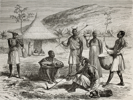 Uganda: Old illustration of Ugandan boss and his living context. Created by Durand and Bertrand, published on Le Tour du Monde, Paris, 1864