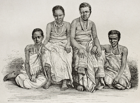 ugandan: Old illustration of Ugandan women. By unidentified author atfer photo of Royer, published on Le Tour du Monde, Paris, 1864