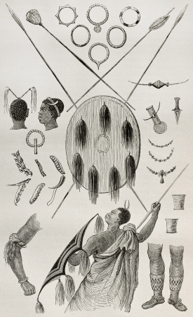 Old illustration of antique tribal Ugandan weapons and ornaments.Created by Grant, published on Le Tour du Monde, Paris, 1864 Stock Photo - 15155820