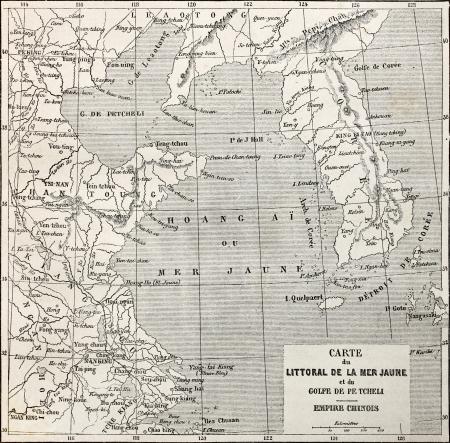 mapa china: Antiguo mapa de mar Amarillo mapa de costa. Creado por Erhard y Bonaparte, publicado en Le Tour du Monde, París, 1864