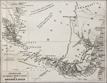 exploratory: Old map of Grant and Speke explorers from Zanzibar to Kazeh (nowadays Tabora), Tanzania. By unidentified author, published on Le Tour du Monde, Paris, 1864