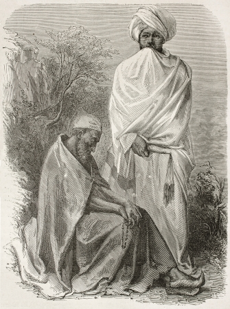 cassock: Two Abyssinian monks old engraved portraits. Created by Bayard after Lejean, published on Le Tour du Monde, Paris, 1867 Editorial