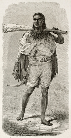 Abyssinian rifleman old engraved portrait. Created by Bayard after Lejean, published on Le Tour du Monde, Paris, 1867