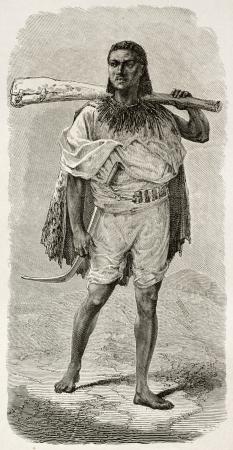 rifleman: Abyssinian rifleman old engraved portrait. Created by Bayard after Lejean, published on Le Tour du Monde, Paris, 1867 Editorial