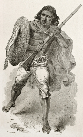 african ancestry: Abyssinian warrior old engraved portrait. Created by Bayard after Lejean, published on Le Tour du Monde, Paris, 1867