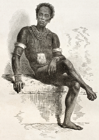Old engraved portrait of Joctian, native African, leader of Nouers tribe ( lake Victoria area). Created by Neuville, published on Le Tour du Monde, Paris, 1867 Stock Photo - 15180214