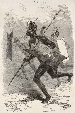 african warriors: African warrior old illustration (southern Sudan region). Created by Neuville, published on Le Tour du Monde, Paris, 1867
