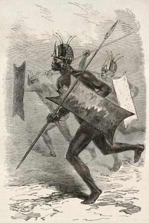tribu: Africano viejo guerrero ilustración (región sur de Sudán). Creado por Neuville, publicado en Le Tour du Monde, París, 1867