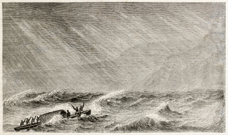 african ancestry: Hurricane on Alberta lake old illustration. Created by Grandsire, published on Le Tour du Monde, Paris, 1867