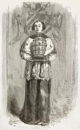 Altar boy bringing mitre. Created by Neuville, published on Le Tour du Monde, Paris, 1867 Editorial
