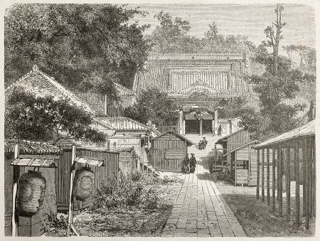 ancient japanese: American legation in Yedo (Tokyo) old illustration. Created by Therond after photo by unknown author, published on Le Tour du Monde, Paris, 1867