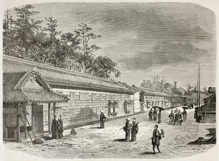 Arima palace exterior walls, Edo (Tokyo). Created by Therond after photo of unknown author, published on Le Tour du Monde, Paris, 1867  Stock Photo - 15180299