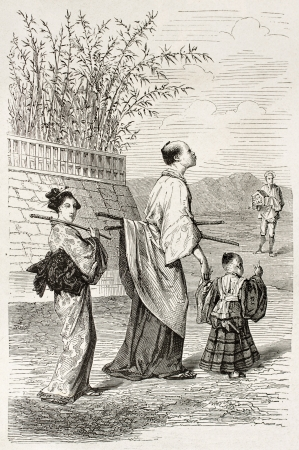 Baby samurai old illustration. Create by Bayard after engraving of unknown Japanese author, published on Le Tour du Monde, Paris, 1867  Stock Photo - 15180207