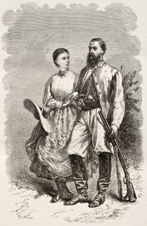 samuel: Sir Samuel White Baker and his wife, old engraved portrait (British explorer). Created by Neuville, published on Le Tour du Monde, Paris, 1867 Editorial