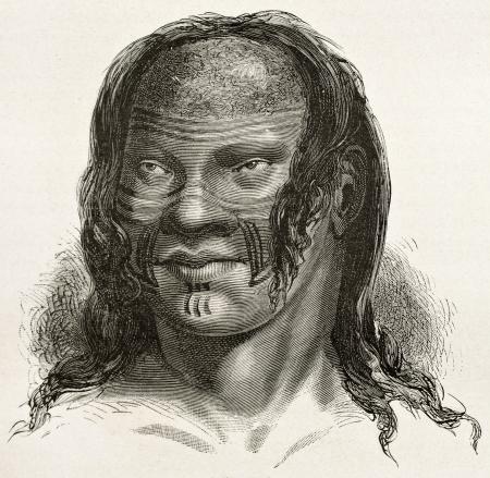 rio amazonas: Barre indígena viejo retrato grabado, Brasil. Creado por Riou, publicado en Le Tour du Monde, París, 1867 Editorial