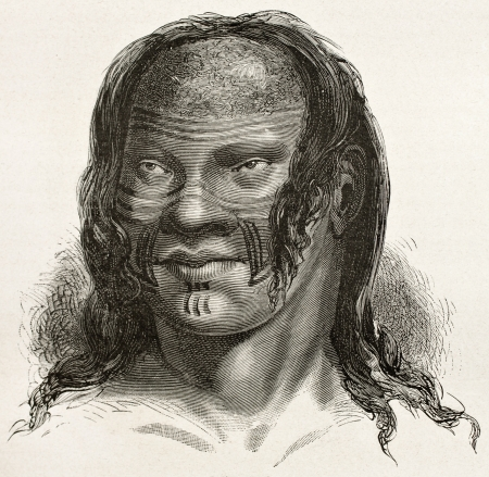 pre columbian: Barre indigenous old engraved portrait, Brazil. Created by Riou, published on Le Tour du Monde, Paris, 1867
