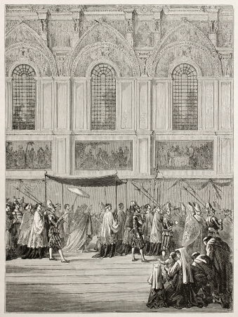ix: Pope Pious IX bringing Eucharist to Sistine Chapel. Created by Bayard, published on Le Tour du Monde, Paris, 1867