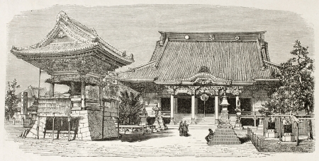 asian ancestry: Buddhist temple in Kawasaki, Japan. Created by Therond after photo by unknown author, published on Le Tour du Monde, Paris, 1867