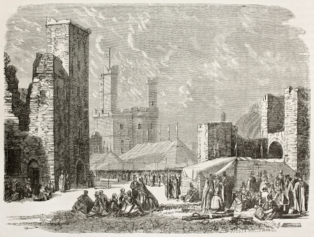 manor: Inside walls of Caernarfon castle, Wales. Created by Grandsire after Erny, published on Le Tour du Monde, Paris, 1867