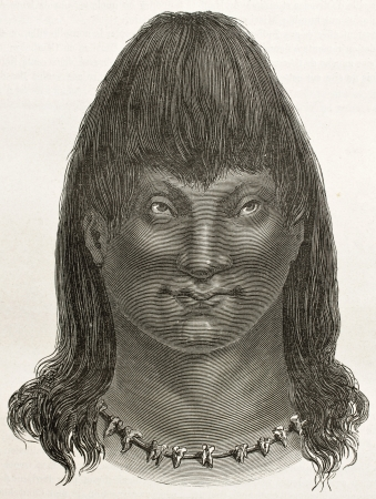 pre columbian: Cambeba indian old engraved portrait (Brazils amazon valley). Created by Riou, published on Le Tour du Monde, Paris, 1867