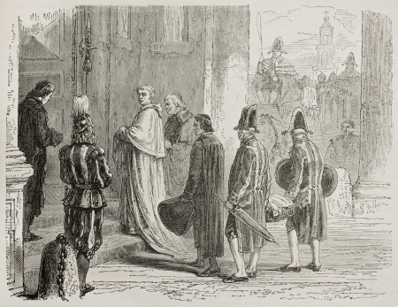 clergyman: Catholic Cardinal entering in Vatican city. Created by Neuville after Ulmann, published on Le Tour du Monde, Paris, 1867 Editorial
