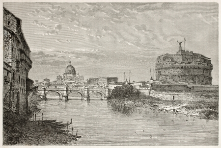 Castel Sant'Angelo (Mausoleum of Adrian) and Saint Peter's dome from Tiber river bank, Rome. Created by Clerget after photo of unknown author, published on Le Tour du Monde, Paris, 1867 Stock Photo - 15180319