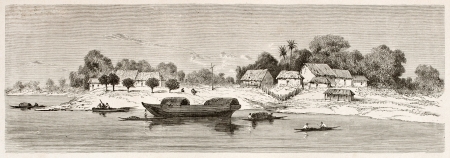 río amazonas: Caysara antiguo pueblo Vista, Brasil. Creado por Riou, publicado en Le Tour du Monde, París, 1867 Editorial