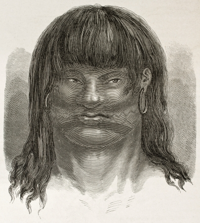 amazonas: Chumana tribe native south-American old engraved portrait. Created by Riou, published on Le Tour du Monde, Paris, 1867