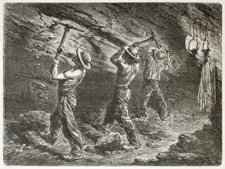 coal mine: Coal miners at work. Created by Mesnel, published on Le Tour du Monde, Paris, 1867