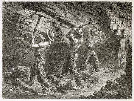 carbone: Minatori del carbone sul lavoro. Creato da Mesnel, pubblicato su Le Monde du Tour, Parigi, 1867 Editoriali