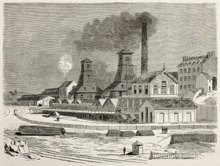 old mining building: Le Creusot cool mine old view, France. Created by Therond after Bonhomme, published on Le Tour du Monde, Paris, 1867 Editorial