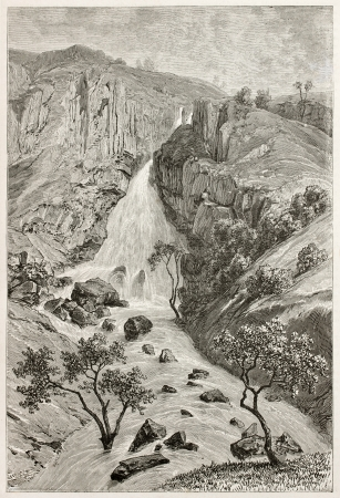 reb: Reb waterflls old view, Abyssinia. Created by Ciceri after Lejean, published on Le Tour du Monde, Paris, 1867