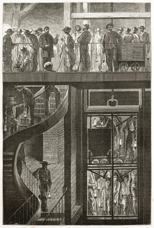 Descent into a mine by elevator, old illustration (Le Creusot, France). Created by Neuville after Bonhomme, published on Le Tour du Monde, Paris, 1867