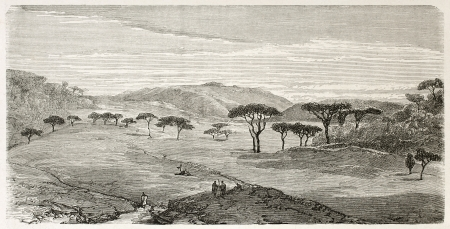 african ancestry: Devra Tabor old view, Abyssinia. Created by Ciceri after Lejean, published on Le Tour du Monde, Paris, 1867