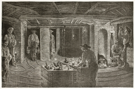 Miners dining undergrouund, old illustration. Created by Neuville after Bonhomme, published on Le Tour du Monde, Paris, 1867