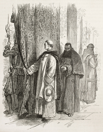 friar: Dominican and Capuchin friars in Vatican city. Created by Neuville after Ulmann, published on Le Tour du Monde, Paris, 1867