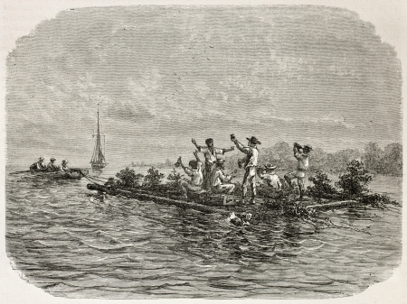 río amazonas: Hombres bebiendo en una ilustración antigua balsa, Brasil. Creado por Riou, publicado en Le Tour du Monde, París, 1867 Editorial