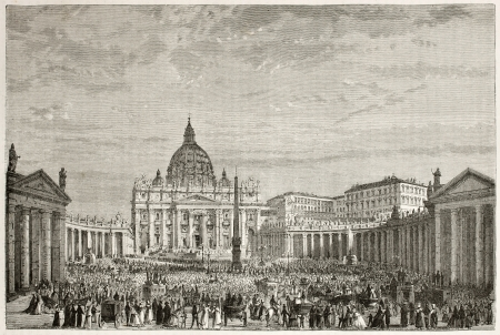 Papal Easter blessing in Sant Peter's square, Rome. Created by Clerget after photo of unknown author, published on Le Tour du Monde, Paris, 1867