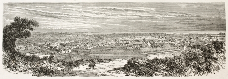 asian ancestry: Edo (Tokyo) old view from Atagosa-Yama hill. Created by Therond after photo of unknown author, published on Le Tour du Monde, Paris, 1867