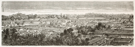 Edo (Tokyo) old view. Created by Therond after photo of unknown author, published on Le Tour du Monde, Paris, 1867  Stock Photo - 15180119